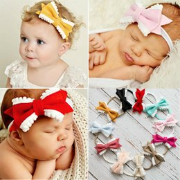 Wholesale Tiny Clips Wholesale - New Baby Girls Nylon Headband Hair Clip with Cute flannel Bow White Tiny Ball Head Band Kid Hair Accessories Hair Bows 8 Colors 32Pcs Lot