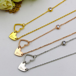 Wholesale Long Elephant Pendant Necklace - Fashion Cute Crystal Elephant Long Necklaces European Style stainless steel with heart Necklace&Pendants For Women