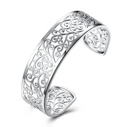 Wholesale Classic Closures - New Style Classic Fashion jewelry Hollow out Geometric Branch No closure Design Cuff Bangle Open Pinch Engagement Wedding Bracelet