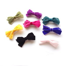 Wholesale Velvet Clips - Velvet Material Bowknot Hair Clips Double Ribbon Headwear Soft Color for Princess 2015 New Design Autumn and Winter Style Charm Bow hairpins