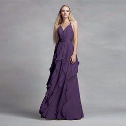 Wholesale Chiffon Long Skirt Yellow - 2017 NEW! Chiffon Purple Halter Neckline Bridesmaid Dress with Cascading Skirt VW360326 Wedding Party Dress Evening Dress Formal Dresses