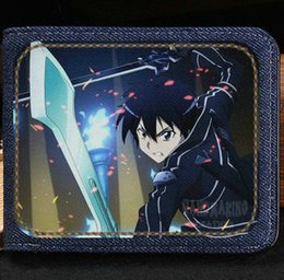 Wholesale Fashion Bag Online - Sword art online wallet Kirigaya kazuto cartoon purse Anime short cash note case Money notecase Leather burse bag Card holders