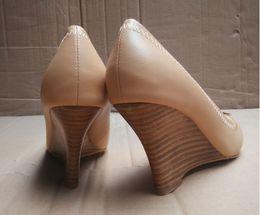 Wholesale Spring Color Wedge Heels - Beige Color Brand Shoes Metal Buckle OL Office Lady 8 CM Wedge High Heels Wedges Women Nude Genuine Leather Pumps Shoes Size 35-41