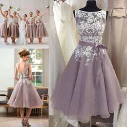 Wholesale Long Dresse - Dusty Purple Bridesmaid Dress with White Lace Tea Length V Back Short Women Formal Maid of Honor Dresse for Weddings Cheap