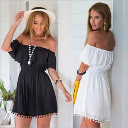 Wholesale Wholesale Beach Sundresses - Fashion women Elegant Vintage sweet lace white black Dress stylish sexy slash neck casual slim beach Summer Sundress