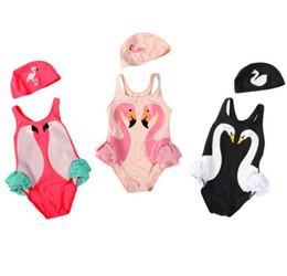 Wholesale Girls Swim Black - Baby Girls Swimwear Baby Swimwear Black Swan Pink Flamingo Melon Parrot Swimsuit Bathing Cap Kids Girls Bikini Swim Suit Bathers