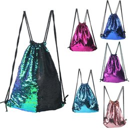 Wholesale Reversible Fabric - Teenager Girls Mermaid Sequin Backpack Sequins Drawstring Bags Reversible Paillette Outdoor Backpack Glitter Sports Shoulder Bags Travel Bag