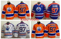 Wholesale Wrinkle Patches - 2016 America Premier Kids Ice Hockey Jerseys Oiler captain 97 Connor McDavid Jersey With C Patch Youth Edmonton Oilers McDavid Jerseys Boys