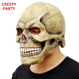 Wholesale Realistic Heads - Scary Skull Mask Full Head Realistic Latex Party Mask Horror Halloween Mask Cosplay Toy Props
