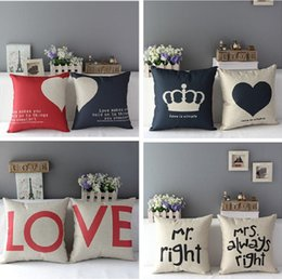Wholesale Romantic Beds - Wholesale- 1 Pc Home Decorative Romantic Soft Bed Anniversary Mr Mrs Right Cotton Linen Pillow Case Cushion Wedding Valentine's Gift Cove