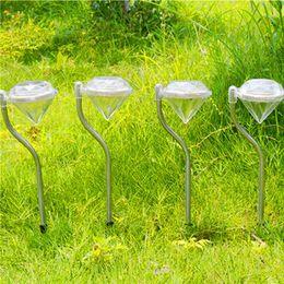 Wholesale Outdoor Light Stakes - LED Solar Powered garden light Diamonds shape white Warm white  RGB Lawn Light Solar Light Pathway Garden Path Stake Lanterns Outdoor Lamps