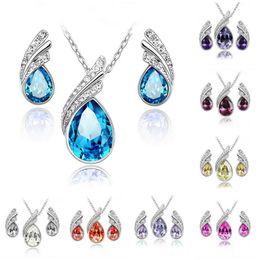 Wholesale Cheap Wholesale Fashion Jewelry Sets - Bridesmaid Jewelry Sets Fashion Indian Wedding Jewelry Cheap Swarovski Crystal Earring and Necklace Sets Women Swarovski Party Jewelry Set