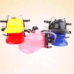 Wholesale Bbq Hat - Creative Straw Drinking Helmet Outdoor Camping Travel BBQ Beer Drink Straw Party Hat Kids Birthday Party Supplies