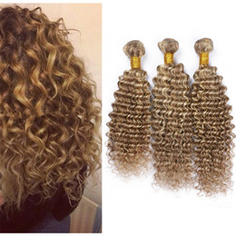 souligner les cheveux bouclés Promotion 8A Brown Blonde Highlight Piano Cheveux 3 Bundles Deep Wave Bouclés Mixte Cheveux Humains Malaisiens Tisse Ombre Blonde Cheveux Weaves