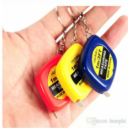 Wholesale Woodworking Mini Tool - Mini 1M Tape Measures Small Steel Ruler Portable Pulling Rulers With Key Chain Gauging Tools