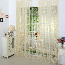 Wholesale Voile Curtains Scarf - 5 Colors Scarf Sheer Voile Door Window Curtains Drape Panel Valance Curtains