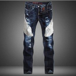 Wholesale unique mens pants - Wholesale-Unique Stylish Beadings new mens Luxury jeans straight ripped jeans fashion hip hop for men casual denim biker pants jeans