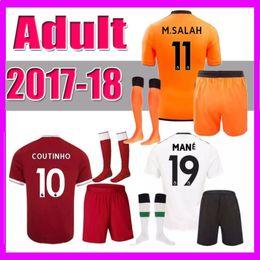 Wholesale Soccer Jersey Set Football - 2017 2018 COUTINHO Soccer Jersey kit 17 18 GERRARD MANE FIRMINO HENDERSON STURRIDGE LALLANA M SALAH Home away 3rd Football shirt Set