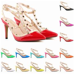 laranja casamento sapatos nupcial Desconto Nova rebite apontou toe sapatos das mulheres bombas de moda de salto alto sapatos bombas mulheres sapatos de casamento tamanho 35-42