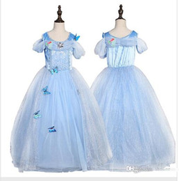 Wholesale Blue Diamonds Music - snowflake diamond cinderella dress fancy princess dress costumes for kids blue cinderella gown Halloween baby girl butterfly dress in stock