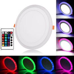 Ultraleggero online-Telecomando Bianco RGB pannello luminoso a led 6W / 9W / 18W / 24W soffitto ultra sottile incasso a LED da incasso in acrilico lampada di pannello