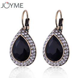 Wholesale Vintage Charm Clip Earrings - Black glass crystal vintage earring for women retro antique gold plated drop water charm clip on earring E313JM