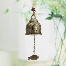 Wholesale Car Statue - Vintage Buddha Statue Pattern Bell Blessing Feng Shui Wind Chime for Good Luck Fortune Home Car Crafts Hanging Decoration Gift