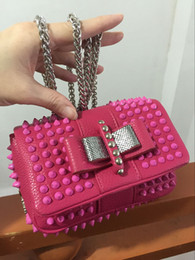 Wholesale Studded Leather Shoulder - Cheaper bags Women Famous Brands Designers Genuine Leather studded spikes Handbag Purse loubuten Shoulder Bag Designer rivets Hand Bags
