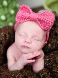 Мода шерсть лук крючком оголовье вязать лентой цветок зима ухо теплее обертывание повязки бантом волосы застежка детские волосы Accesso от
