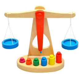 Wholesale Balance For Weighing - Wholesale- Baby Toy Wooden Balance Beam Weighing Scale Early Childhood Education Preschool Training toys gift for kid great