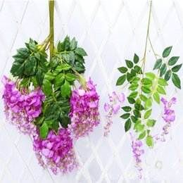 Wholesale New Decorating Colors - Free Shipping 2017 Decorative Fake Flower (5 Colors) New Elegant Artificial Silk Flower Vine Wisteria Wedding Living Room Center Decorated B