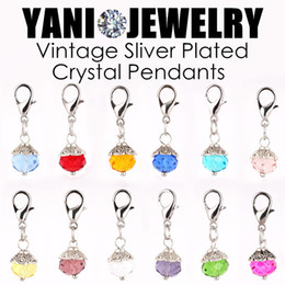 Wholesale Glass Birthstone Locket - Crystal Birthday Stones Charm Birthstone Floating Locket Dangle Charms with Lobster Clasp for Glass Memory Locket
