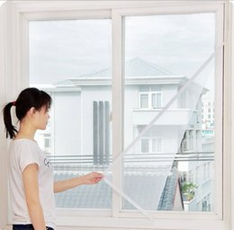 Wholesale Window Quilts - Via Fedex EMS, DIY FlYSCREEN Anti-Mosquito Polyester Window Screens Self-adhesive Against Mosquito Net Mesh 130*150cm, 300PCS