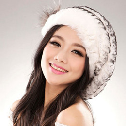 Wholesale Beautiful Women Furs - Wholesale-Loss sale women winter genuine rex rabbit fur cap lady winter real fur hat free shipping elegant beautiful beret