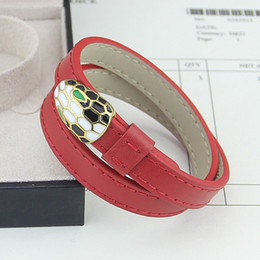 Wholesale Singapore Wedding Gold Jewelry - Jewelry wholesale double - loop colored leather head bracelet with double plain snake bracelet