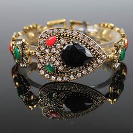 Wholesale Large Fishing Hooks - Large Gemstone Bracelet Heart Water Drop Shaped Bracelets Colorful Resin Retro Jewelry