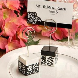 Wholesale New Black Wedding Card - Black and white and decorative pattern place card holder Resin message Memo holder The new arrivel wedding gift