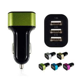 Wholesale Usb Triple Socket Car - Wholesale- Universal Triple USB Car Charger 3 Port Car-charger Adapter Socket 2A 2.1A 1A Car Styling USB Charger For Car-Styling