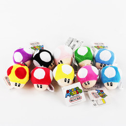 Wholesale Super Mario Toad Plush - Geat 50pcs lot Super Mario Toad Mushroom Plush Pendant Keychain keyring Toy