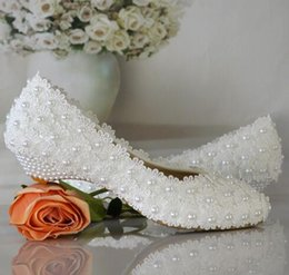 Wholesale White Bridal Wedge Heels - white flowers pearl bridal shoes low heel round toe fashion women's shoes wedges party shoes free shipping