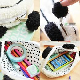 Wholesale Soft Cosmetic Cases - Wholesale- Soft Plush Panda Pencil Phone Card Case Cosmetic Makeup Bag Pouch Purse