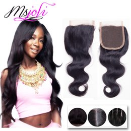 Wholesale Natural Straight Brazilian Virgin Hair - Brazilian Virgin Human Hair Weave Closures Body Wave Straight Natural Black 4x4 Lace Closures Three Middle Free Part 6-22 Inches Ms Joli