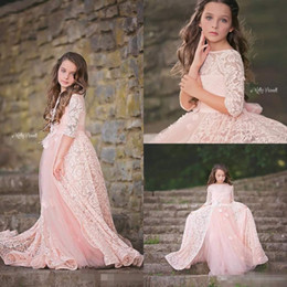 Wholesale Light Over Flower - Adorable Lace Pink Flower Girls Dresses With Over Skirt Long Sleeves Appliques Beaded Girls Pageant Dress Floor Length Communion Gowns