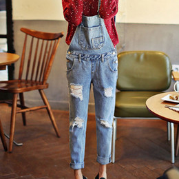 Wholesale Cute Ripped Jeans - Wholesale- Women Ripped Stone Wash Denim Overall Jeans Women Cute Wear Vintage Sleeveless with Pockets Jumpsuits