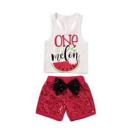 white kids sports suit Promo Codes - Mikrdoo Summer Fashion Sport Suit Baby Girls Boys One A Melon White Tank Top Red Short Bow Pants Clothing Set Watermelon Kids Clothes