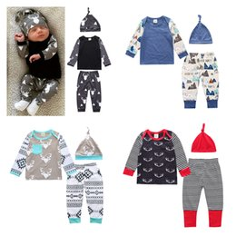 Wholesale Cotton Infant Girl Hats - Baby Girls Boys Clothing Sets Toddler Infant Newborn 3PCS Suit Tops Pants Hat Boys Girls Leggings Tights Sweatshirt Pants Kids Clothes 261