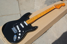 Wholesale Stratocaster Electric - New Arrival Custom Shop Stratocaster Basswood Body Vintage Maple Fretboard American Standard Strat Black Electric Guitar