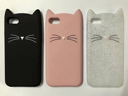 Wholesale Silicone 3d Cases - For iphone 5 6 Phone Cases Shell 3D Bearded Cat Silicone Soft Cover for iPhone 7 i7 Bag funda