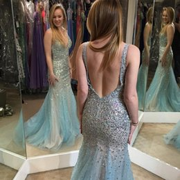 Wholesale Mint Mermaid Tulle Prom Dress - Gorgeous Mint 2017 Prom Dresses Blining Crystal Beading Mermaid Sexy Backless Deep V Neck