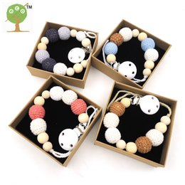 Wholesale Crochet Clips - Wholesale-4 designs Wooden beads soother pacifier clip pacifier for baby, dummy holder,ecofriendly crochet massive chewable beads NT198
